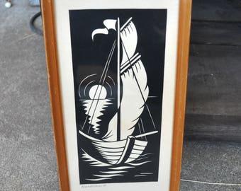 Vintage Framed Hand Cut Paper Silhouette Sailing Boat Handschnitt