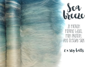 Spinning batts - 100g - 3.5oz - 21 micron merino wool - Milk protein - Tussah silk - SEA BREEZE