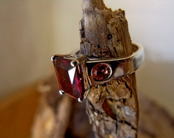 Sterling Silver with Lab Created Ruby and Genuine Pink Tourmaline RF693