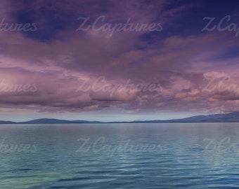 Ocean sunset/printable wall art/  Beach/ Landscape photo/ Panorama/ Wallpaper/ background