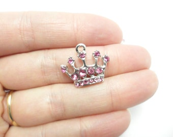 Pink Crown Charm 1 pc, Silver Tone w/Rhinestone gift Idea for princess party favor, DIY Necklace or bracelet, jewelry making supplies shop