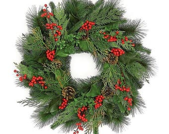 ESE Christmas Wreath with berries, 24""