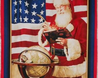 "Christmas/Winter Patriotic Santa with Globe ""Deck the Halls"" Fabric Panel- approx. 24"" x 43"" (#O74)"