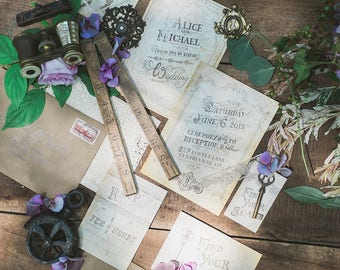 Vintage Steampunk Wedding Invitations - SAMPLE - Steampunk Theme - Wedding Invitations & Stationery by Alicia's Infinity