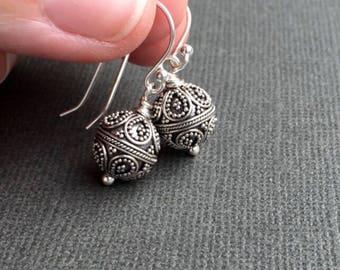 Silver Bead Earrings, Silver Dangle Drop Earrings, Simple Silver Earrings, Everyday Jewelry Boho Chic Jewelry Gift for Women, Petite Drops