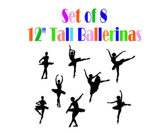 Ballerinas Silhouettes Set of 8 - 12 Inches Tall - Vinyl Decal / Stickers are Easier Than Paint or Stencils - Select Color