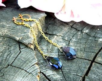 purple earrings swarovski crystal drop earrings long dangle earrings violet earrings shoulder earrings anniversary inspirational womens gift