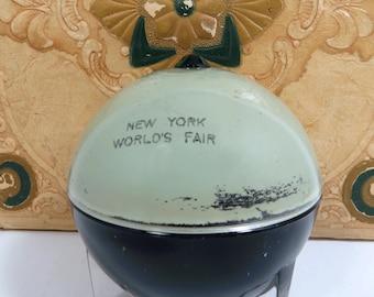 New York World's Fair Glass Globe Lidded Dish, 1939, Historic Souvenir