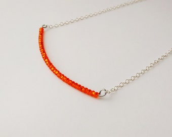 Sterling silver necklace, bar necklace, burnt orange necklace,beaded necklace,minimalist,delicate necklace,dainty choker ,bridesmaid gifts