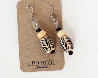 Wooden Tribal Earrings // Handmade Earrings // Chevron Earrings // Wooden Jewelery
