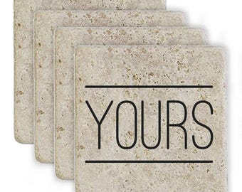 "Rustic ""Yours"" Coasters - 4-Pack"