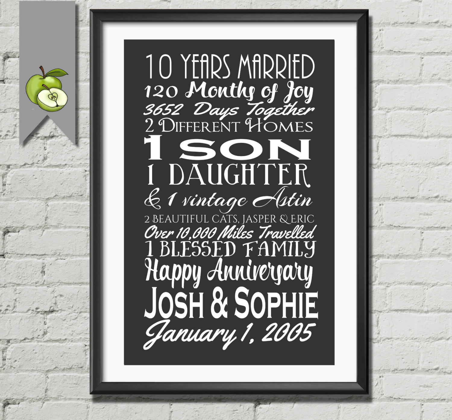 Gifts For 10th Wedding Anniversary For The Couple: 10th Anniversary Gift Tenth Anniversary Gift Wife Husband