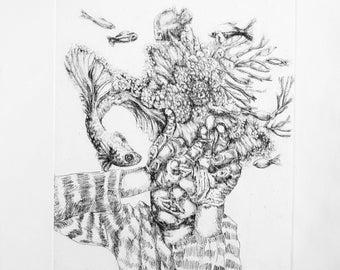 Antropomorfish I-Etching and Ceramolle. Original print, hand-made engraving.