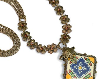 Talavera Tile Flower Necklace, Tile Necklace, Rustic Necklace, Boho Necklace, Vintage Necklace, Flower Jewelry, Mexican Tile Pendant N1498