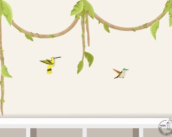 "Wall Decal ""lianas and Hummingbird"" nursery Kids Jungle Wall Stickers"