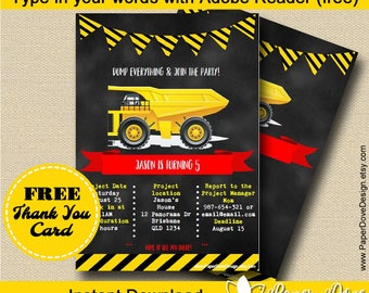 """Construction Invitation 5x7"""" 