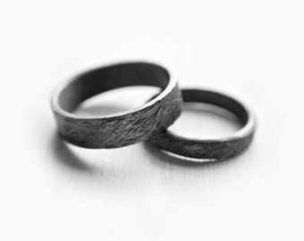Ripples Ring Set - Oxidized Wedding Band Set - Wedding Jewelry - Wedding Rings for Him and Her - Unique Couple Ring Set - Promise Rings Set