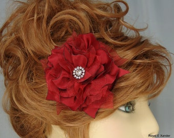 Bridal Fascinator, Bordeaux Hair Flower, Red Hair Clip, Flower Hair Clip, Wedding Accessory, REX14-191