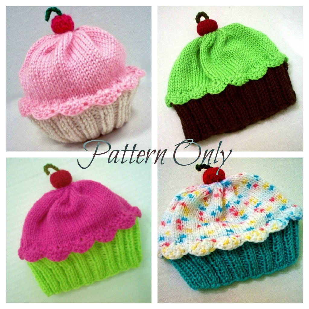 Knitting Pattern Cupcake Hat PDF INSTANT DOWNLOAD Cherry on