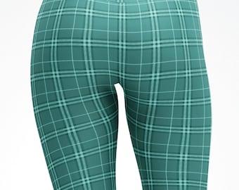 Turquoise Tartan Scottish Print Tights Leggins Capris Yoga Pants Adult Kids Child sizes Mommy and me matching dance pants workout Dance 5024
