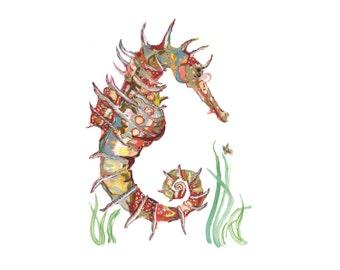 Seahorse Open Edition // home decor// Art Print// boho // seahorse art // wall art  13x19, 11x14, or 8.5x11