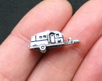 5 Camper Trailer Charms Antique Silver Tone 3D - SC3002