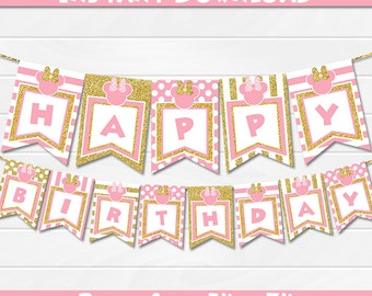 Minnie Pink and Gold Banner, Glitter Gold, Polka Dot pink Minnie mouse, Party Decorations, Minnie party printable - INSTANT DOWNLOAD