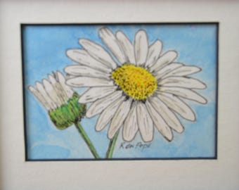 Original ACEO Watercolor Painting - Daisy Flower - Pen and Ink Art