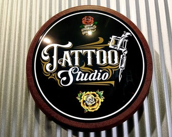 "Tattoo Studio Light Up 12"" old chrome LED Round Sign.......Our Latest Tattoo Signs"