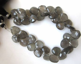 Natural Grey Moonstone Heart Shaped Faceted Briolette Beads, 12mm To 14mm And 8mm To 12mm Beads, Grey Moonstone Jewelry, GDS945