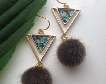 Earrings  green opal style with pom poms ONE - OF - A -KIND