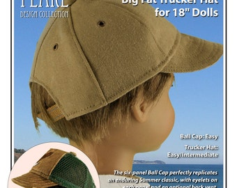 L&P #1008: Classic Ball Cap and Big Fat Trucker Hat Pattern for 18 inch dolls - perfect for sports and casual wear for girl and boy dolls