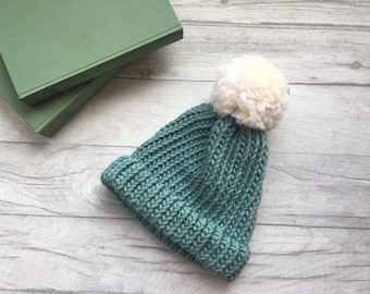 Chunky knit teal beanie hat mothers day gift winter hat knit hat matching mum and baby mom and baby chunky wool merino winter hat toque blue
