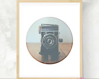 Vintage Camera Print | Gift for Photographer | Digital Artwork | Camera Art Print | Minimalist Decor | Digital Print