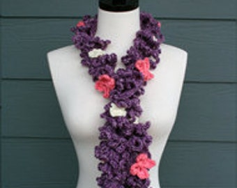 Crochet Pattern - Scarf - Spring - Lace - Spiral - Child - Adult - Purple - Pink - White - PDF