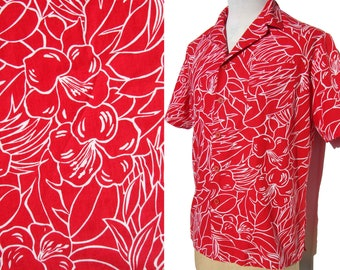 Vintage Jantzen Surfer Shirt Mens Hawaiian Style Red Hibiscus Tropical Shirt L