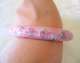 Vintage Pink Enamel Floral Silver Tone Bangle Bracelet