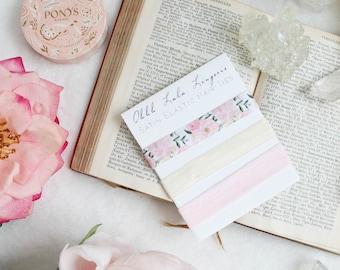 Pretty Boho Floral Pink and Cream Satin Elastic Hair Ties Elastic Set