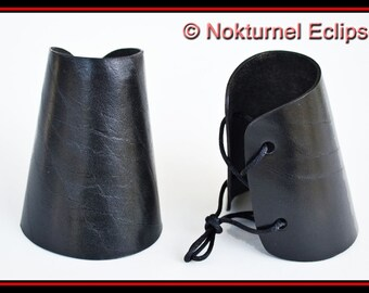 Pair Black Leather Cuffs Wristbands Halloween Fantasy Adult Superhero Cosplay Fetish Costume Accessory - AVAILABLE ANY COLOR