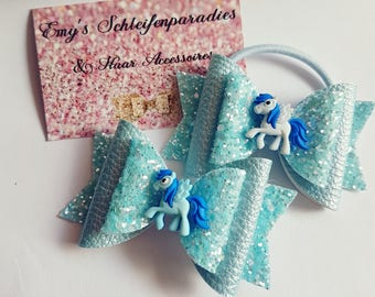 Glitter hair bow little pony blue / hair bow