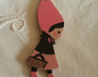 Charm / wooden pendant / naive girl with Hat