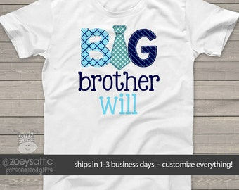 big brother tie shirt - fun pregnancy announcement Tshirt MSMP-016