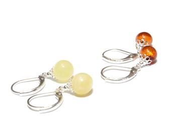 Amber Earrings Sterling Silver, Leverback Earrings, Baltic Amber Drop Earrings for Women, Handmade Amber Dangle Earrings, Gift Jewelry