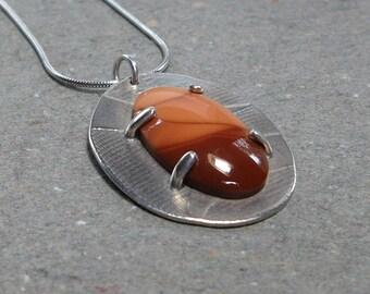 Jasper Pendant Necklace Argentium Sterling Silver Orange Gemstone Prong Set Gift for Her