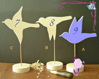 WEDDING Table NUMBERS - Table Markers - DIY Decorations - Hand Carved Wooden Birds - Flying Bird - Finish Your Way