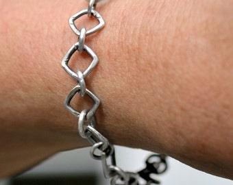 Hand Forged Sterling Bracelet Sterling Silver Bracelet Hand Forged Sterling Bracelet Square Link Bracelet kbdesignsetc