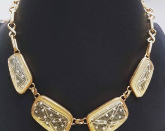 1970s vintage old plastic yellow lucite Polkadot style gold tone chocker necklace
