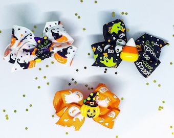 Girl's Halloween Bows Pumpkin Bow Cat Bow Candy Corn Bow