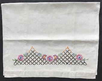 Vintage Embroidered Linen Tea Towel