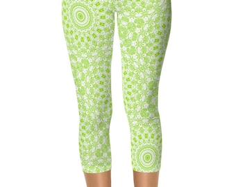 Chartreuse Capris, Leggings Lime Green and White, Printed Leggings, Chartreuse Yoga Capris